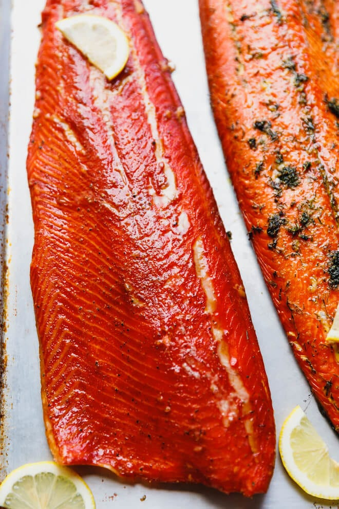 Hot smoked salmon with brown sugar