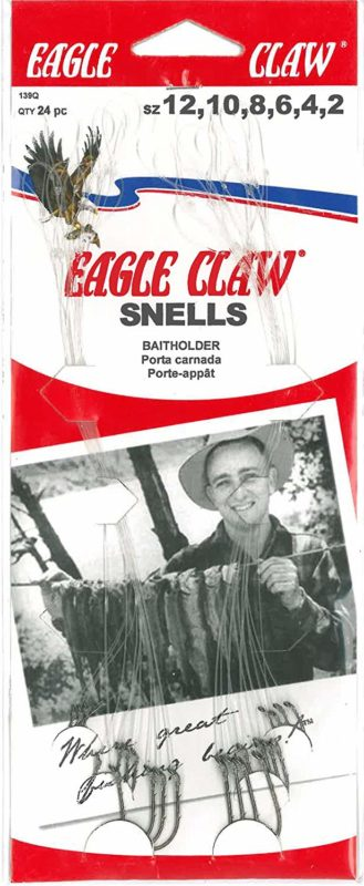 Eagle Claw 139RQH 24-Piece Set of Red Assorted Baitholder Snelled Fish Hooks